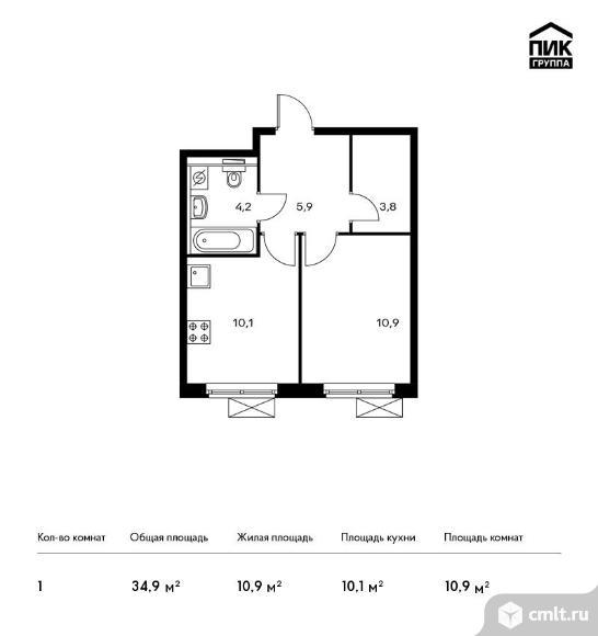 1-комнатная квартира 34,9 кв.м. Фото 1.