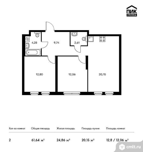 2-комнатная квартира 61,64 кв.м. Фото 1.