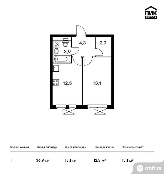 1-комнатная квартира 36,9 кв.м. Фото 1.