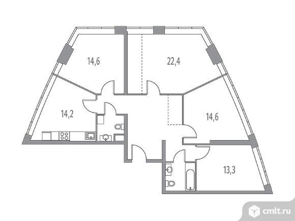 4-комнатная квартира 106,52 кв.м. Фото 1.