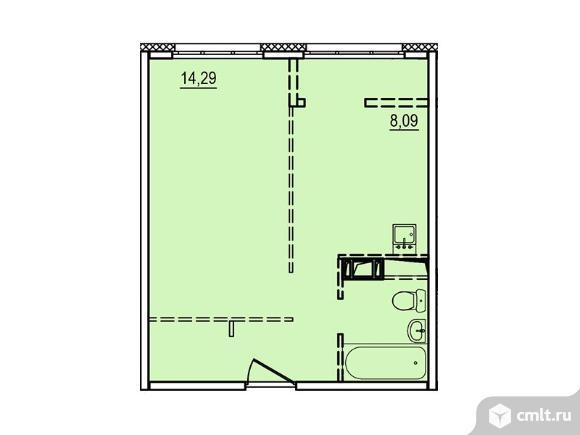1-комнатная квартира 33,22 кв.м. Фото 1.