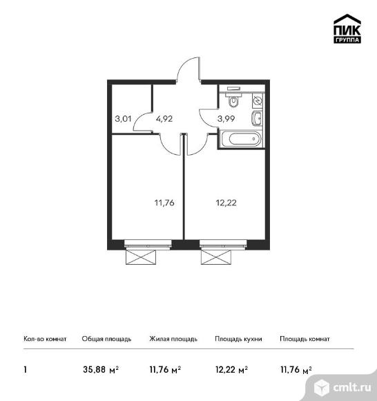 1-комнатная квартира 35,88 кв.м. Фото 1.