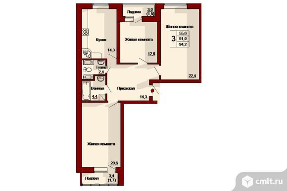 3-комнатная квартира 94,2 кв.м. Фото 1.