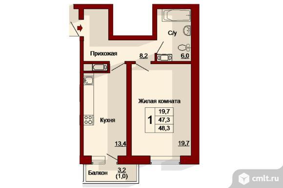 1-комнатная квартира 48,3 кв.м. Фото 1.