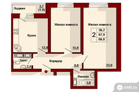 2-комнатная квартира 69,8 кв.м. Фото 1.