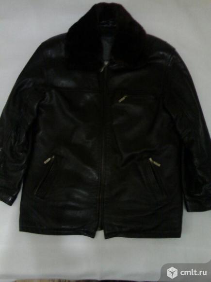 Куртка коженная на натуральном меху р.50. Фото 1.