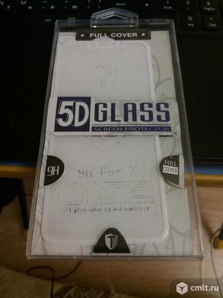 Защитное стекло 5d для iPhone X/Xs (белое)