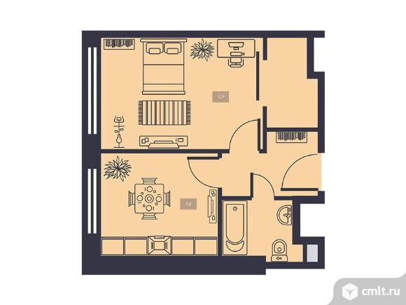 1-комнатная квартира 33,9 кв.м. Фото 1.