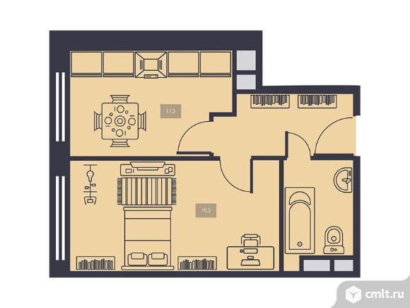 1-комнатная квартира 37,3 кв.м. Фото 1.