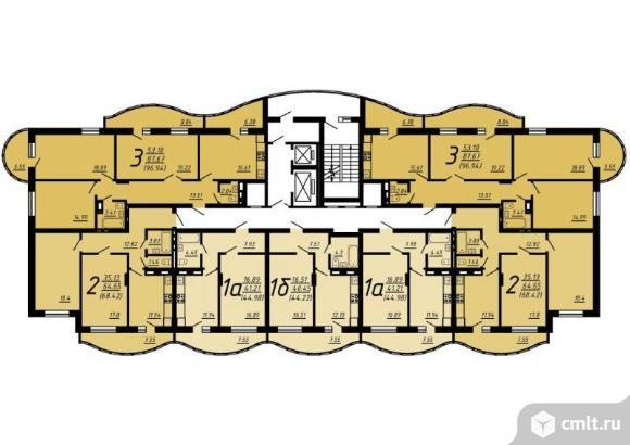 1-комнатная квартира 44,22 кв.м. Фото 3.