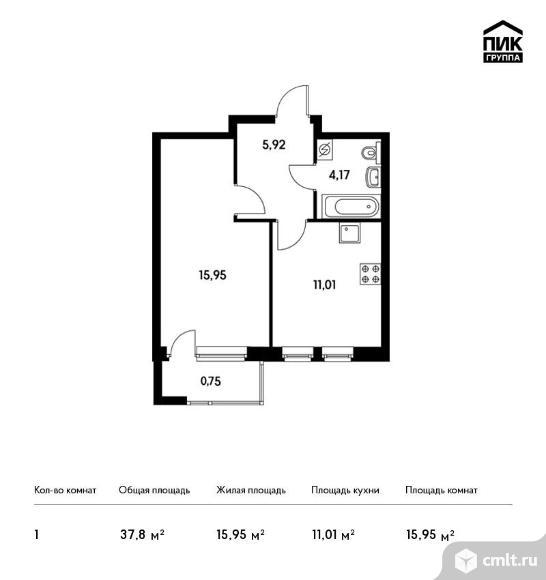 1-комнатная квартира 37,8 кв.м. Фото 1.