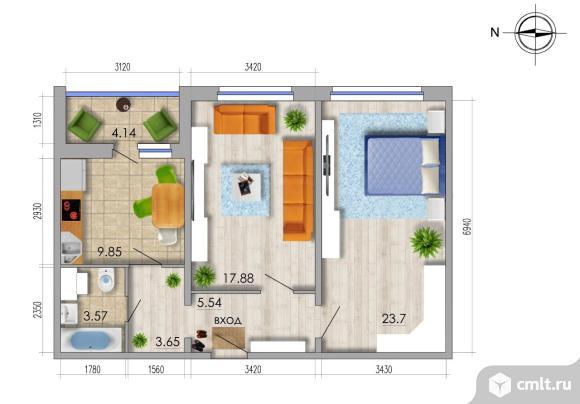 2-комнатная квартира 66,3 кв.м. Фото 1.