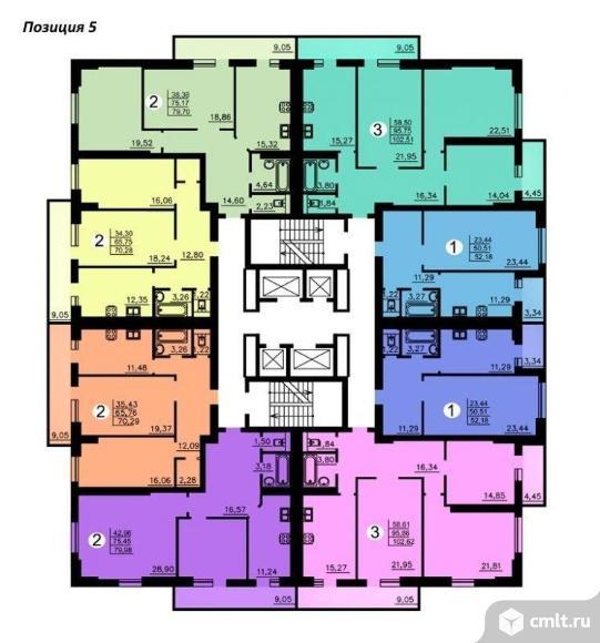 1-комнатная квартира 78,93 кв.м. Фото 1.