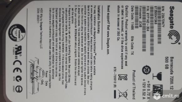 Жесткий диск 500гб 7200об. бу. Фото 2.