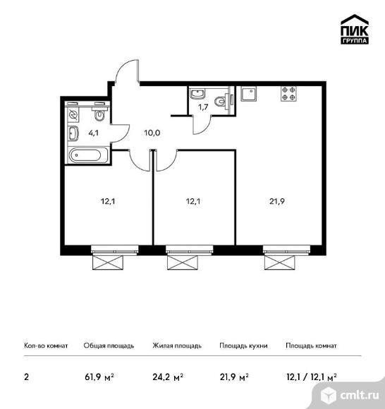 2-комнатная квартира 61,9 кв.м. Фото 1.