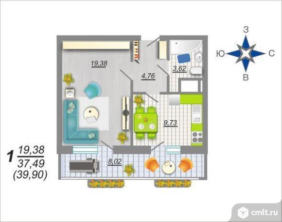 1-комнатная квартира 39,66 кв.м. Фото 2.