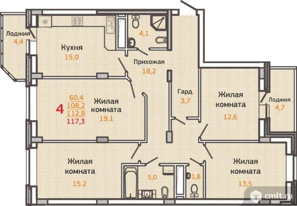 4-комнатная квартира 117,3 кв.м. Фото 1.