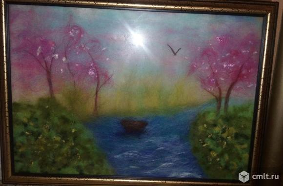 Картина из шерсти (в раме под стеклом)