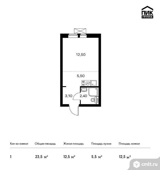 1-комнатная квартира 23,5 кв.м. Фото 1.