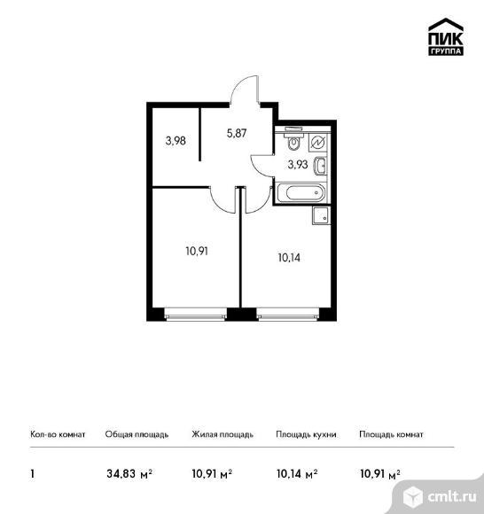 1-комнатная квартира 34,83 кв.м. Фото 1.