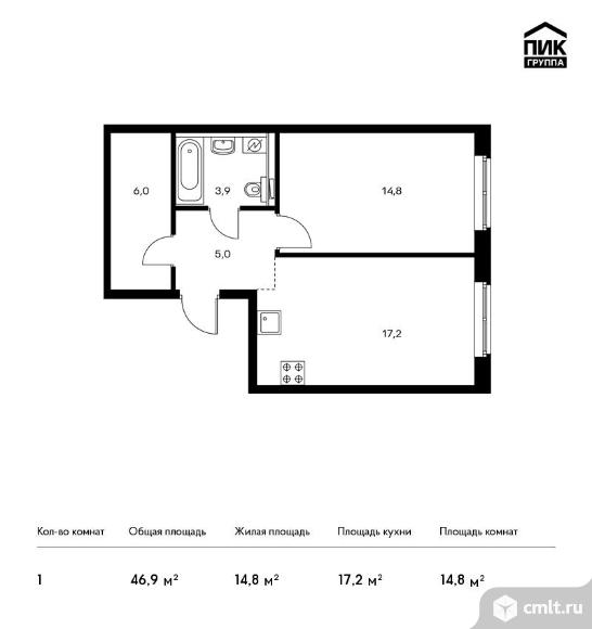 1-комнатная квартира 46,9 кв.м. Фото 1.