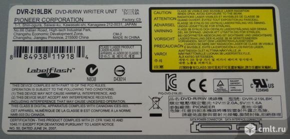 Привод DVD+/-RW Pioneer DVR-219LBK + Кабель SATA - SATA. Фото 3.