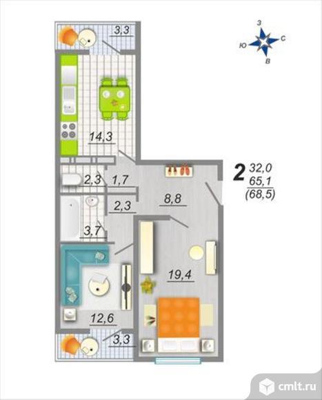 2-комнатная квартира 68,5 кв.м. Фото 1.