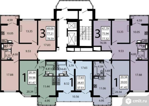 1-комнатная квартира 41,47 кв.м. Фото 3.