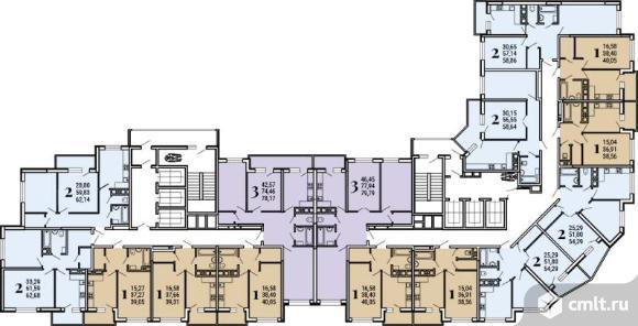 3-комнатная квартира 78,17 кв.м. Фото 2.