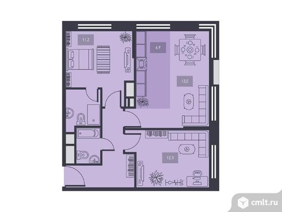 3-комнатная квартира 58,7 кв.м. Фото 1.