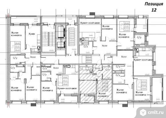 3-комнатная квартира 74,43 кв.м. Фото 11.