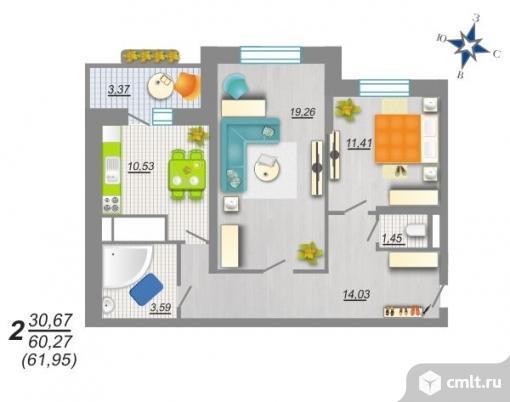2-комнатная квартира 61,95 кв.м. Фото 2.