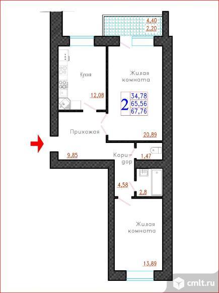 2-комнатная квартира 67,76 кв.м. Фото 1.