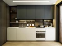 Мебель для кухни на заказ. Материал ЛДСП Egger. Пластиковые фасады. Фартук из пластика стилизован под натуральное дерево. Демпферная система открывания дверей.