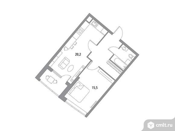 1-комнатная квартира 48,05 кв.м. Фото 1.