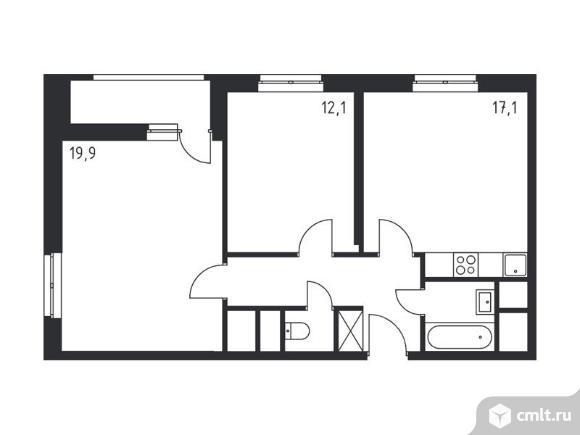 3-комнатная квартира 62,8 кв.м. Фото 1.