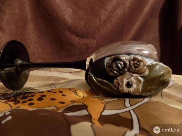 Кожаные аксессуары: заколки,брошь, ободок.. Фото 6.