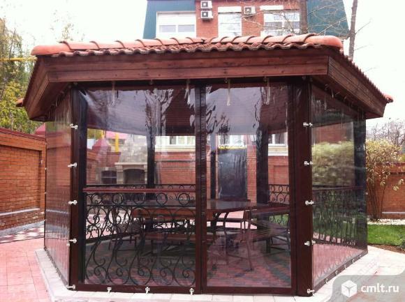 Прозрачные шторы ПВХ для беседки веранды. Фото 1.