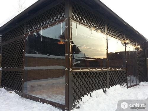 Прозрачные шторы ПВХ для беседки веранды. Фото 3.