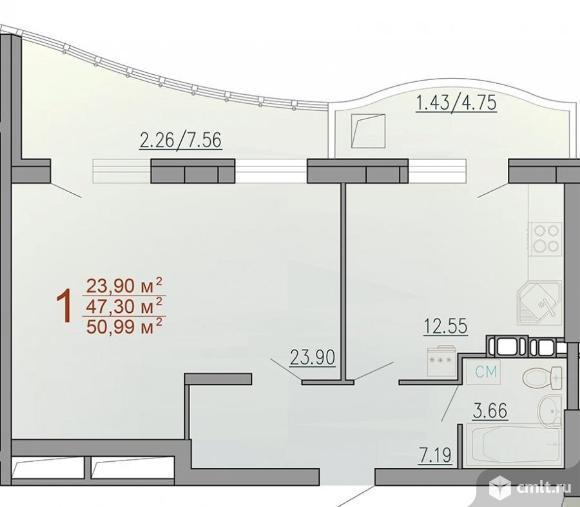 1-комнатная квартира 47,3 кв.м. Фото 1.