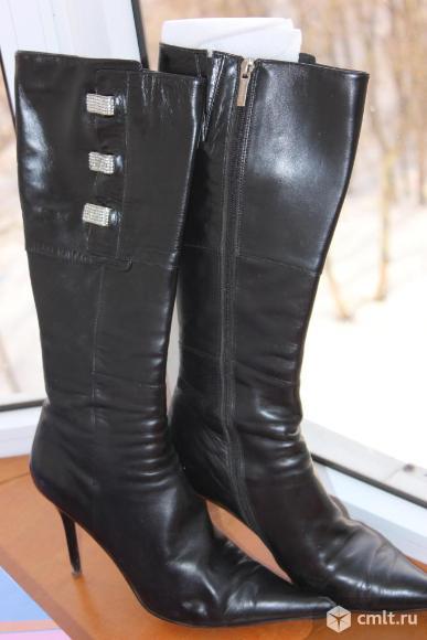 Сапоги женские демисезонные кожаные. Фото 1.