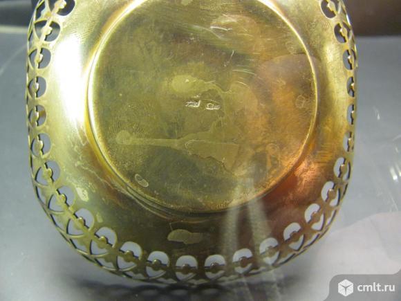 Вазочка,конфетница серебряная,серебро 875 пробы,позолота.Красота!. Фото 6.