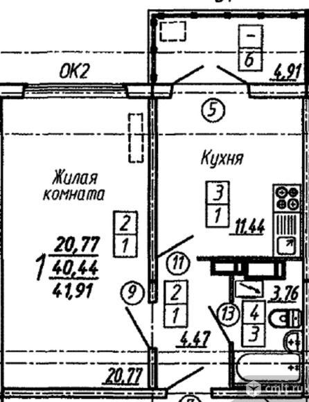 1-комнатная квартира 41,98 кв.м. Фото 1.