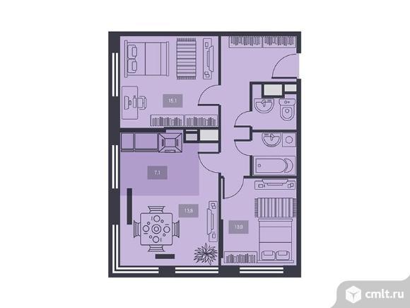 3-комнатная квартира 64,7 кв.м. Фото 1.