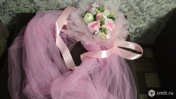Свадебные украшения на автомобиль (в аренду). Розовые. Фото 6.