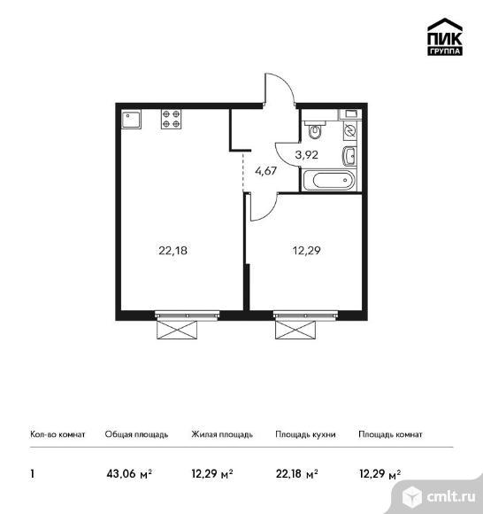 1-комнатная квартира 43,06 кв.м. Фото 1.