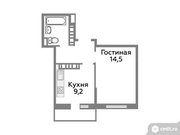 1-комнатная квартира 34,2 кв.м. Фото 1.