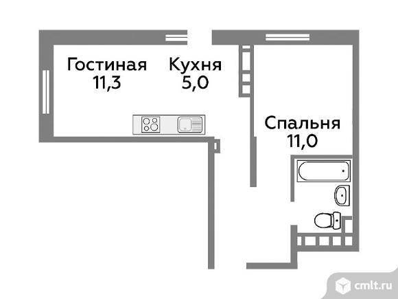 2-комнатная квартира 39,1 кв.м. Фото 1.