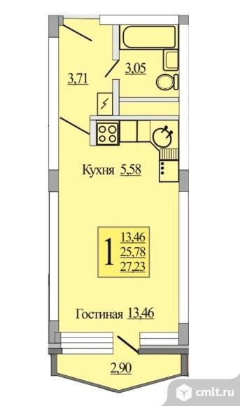 От застройщика 1-комнатная - 27,3кв.м. Дом сдан.. Фото 6.