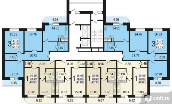 1-комнатная квартира 41,04 кв.м. Фото 5.